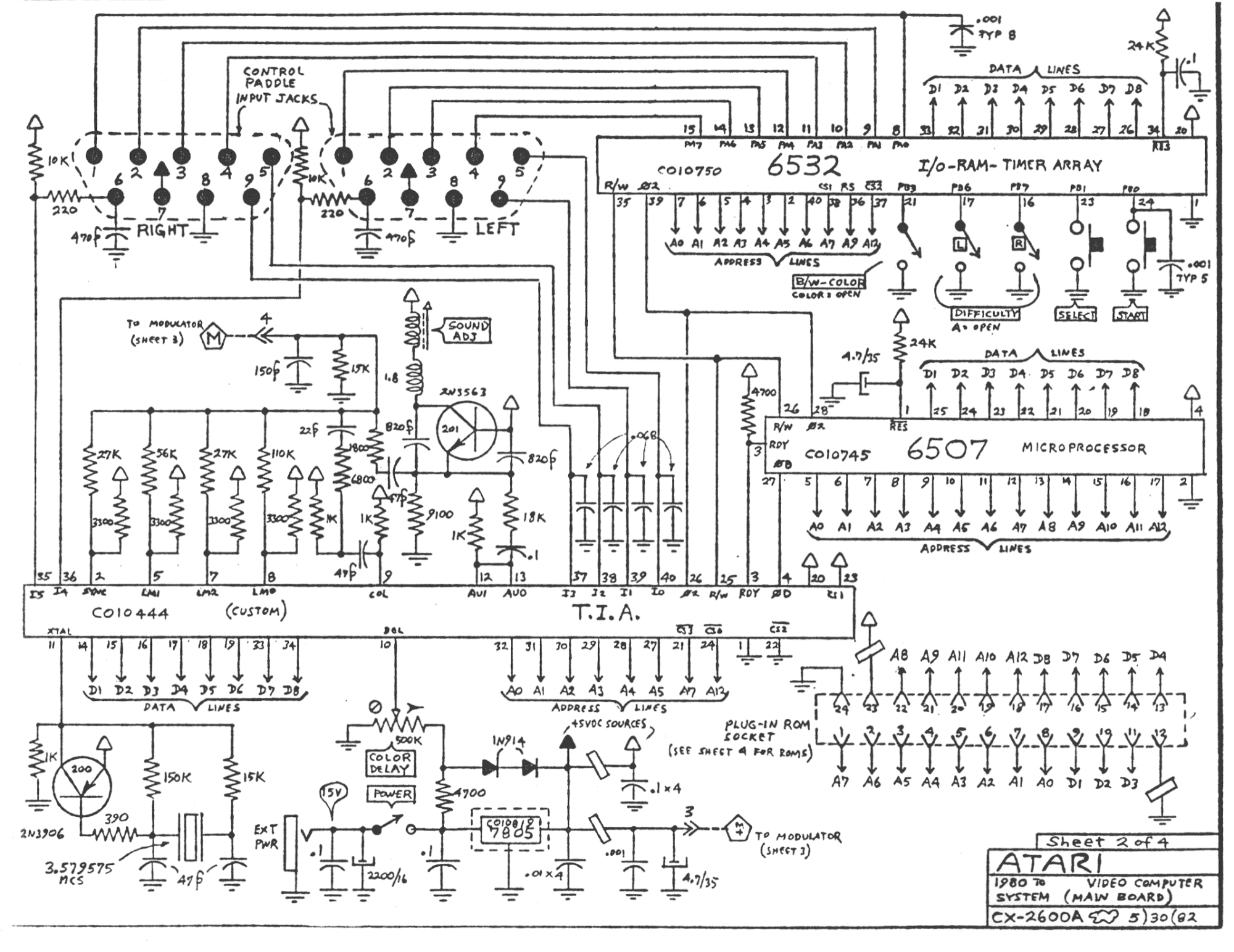Schematic_Atari2600A_2000 atari 2600 wiring diagram wiring diagrams Atari 2600 System at mifinder.co