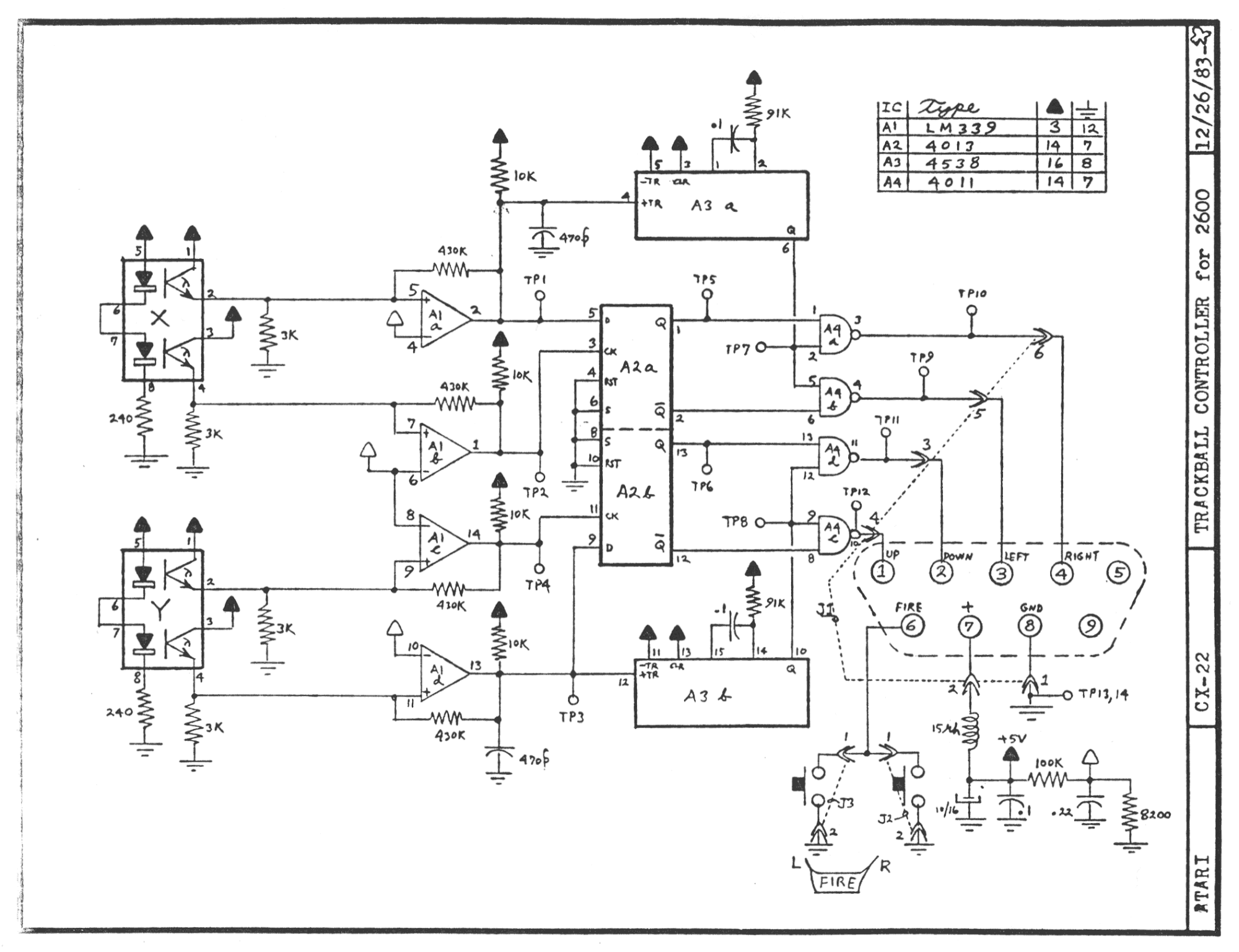 Schematic_Atari2600_CX22_2000 atari 2600 controller schematic the atari joystick pinout common Atari 2600 System at mifinder.co