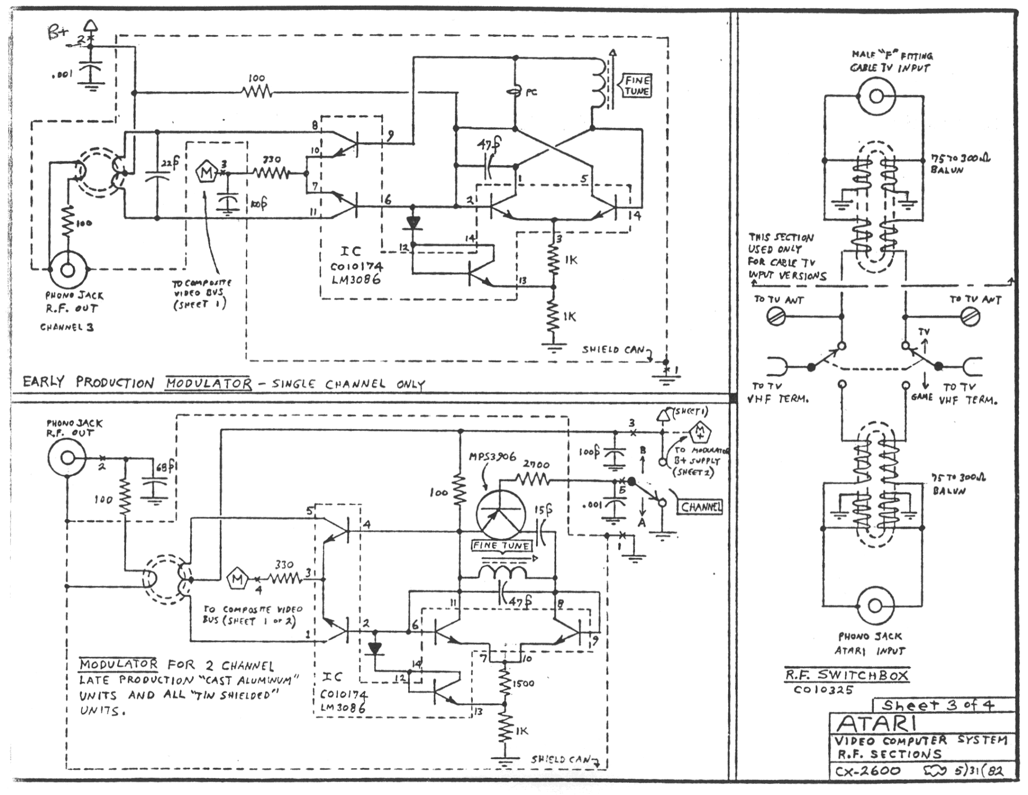 atari 2600 rf sections schematic