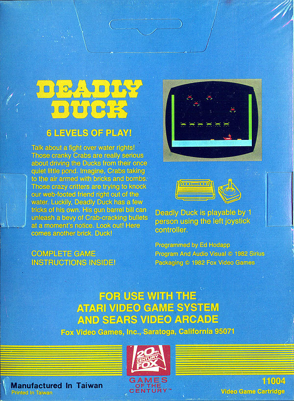 Deadly Duck - Box Back