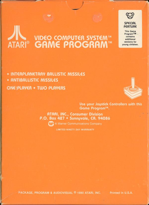 Missile Command - Box Back