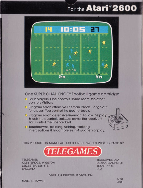 Super Challenge Football - Box Back
