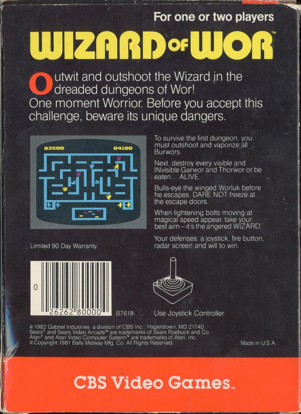 Wizard of Wor - Box Back